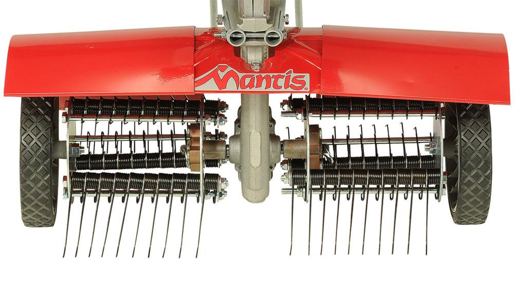 Mantis rotovator with dethatching attachment