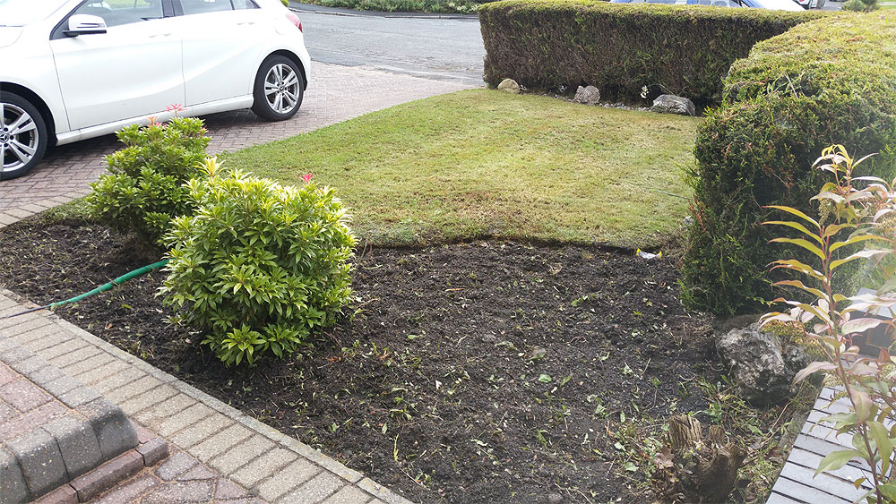 Front lawn tidy and planting bed created in Bolton